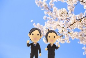 男女の新入社員 桜 クレイアート