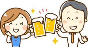ビールで乾杯するサラリーマンとOL イラスト