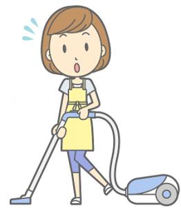 掃除機を掛けている女性 イラスト