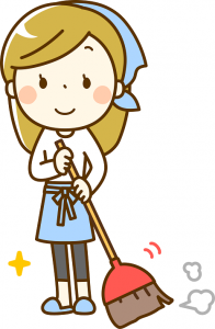 掃き掃除をする女性 イラスト