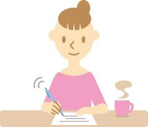 手紙 書く 女性 イラスト