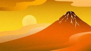 富士山 朝日 イラスト