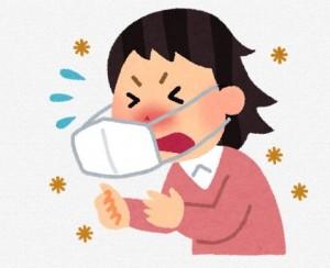 咳 くしゃみ 女性 イラスト マスク 風邪