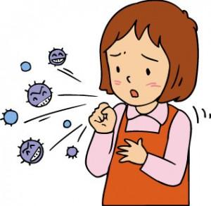 咳をする女性 イラスト