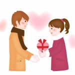 男性にバレンタインチョコをプレゼントする女性 イラスト