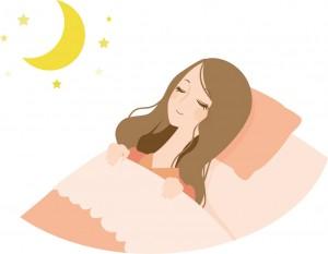 寝ている女性と月 イラスト