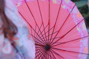 女性 着物 和傘