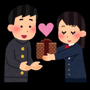 男子学生にバレンタインプレゼントをする女子学生 イラスト