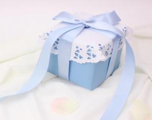 ブルー包装紙 ブルーリボン プレゼント