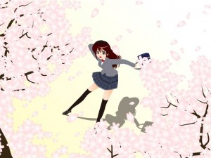 桜と女子生徒 イラスト