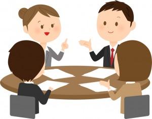 会議中の4人 イラスト