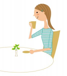 リラックスしてお茶を飲む女性 イラスト