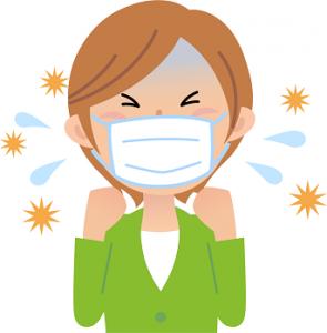 喉 咳 花粉症 女性 イラスト