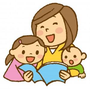 子供と本を読む母親 イラスト