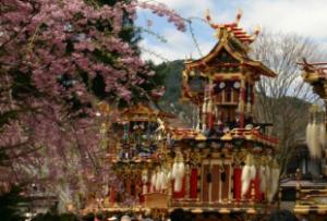 飛騨古川祭り 桜と屋台