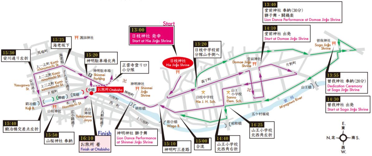 春の高山祭 日枝神社例大祭 御巡幸順路マップ