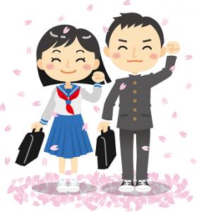 男女の新入生 桜 イラスト