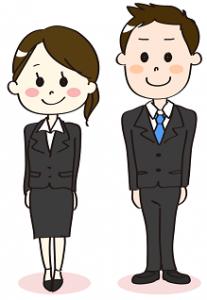 姿勢の良い男女の新入社員 イラスト