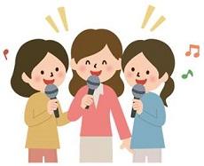 歌を歌う3人の女性 イラスト