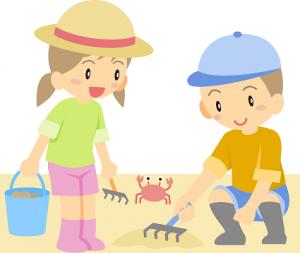 潮干狩り 子供 イラスト