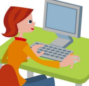 パソコンを操作する女性 イラスト