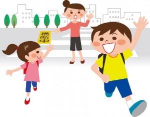 子供の通学 横断歩道 イラスト