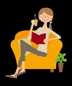 椅子に座って本を読む女性 イラスト