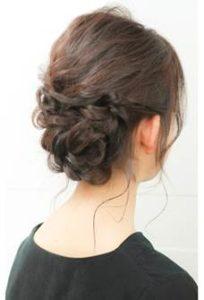 編み込みアップスタイル 髪型