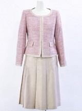 光沢 シャンタン生地スカート ラメ入りツィードジャケット