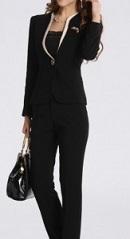 シングルボタン ハイウエスト 黒 スーツ 女性