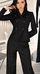 ダブル ジャケット 黒スーツ 女性