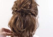 ハーフアップ 編み込み ミディアムヘア
