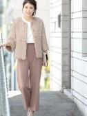 ピンク パンツスーツ ツイードジャケット 母親 入学式