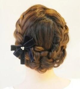 髪型 セミロング 編み込み アップ