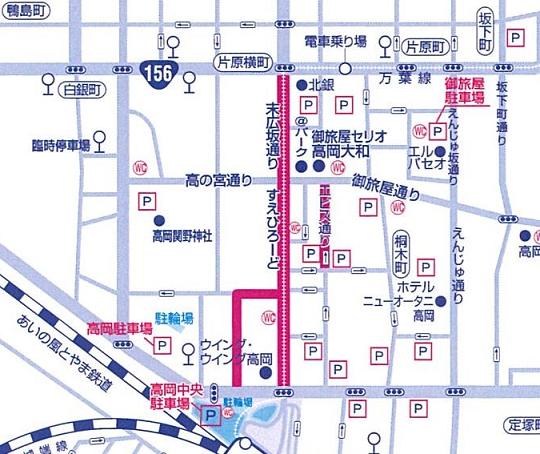 高岡七夕まつり 交通規制マップ