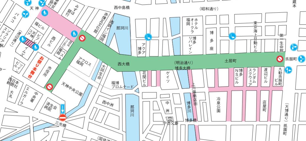 博多どんたく 交通規制マップ どんたく広場