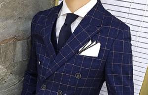 男性 スーツ ネイビー チェック