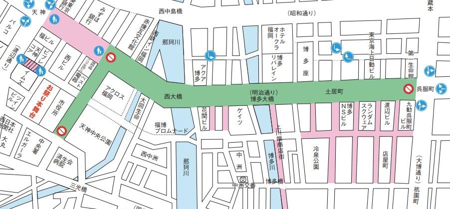 博多どんたく 博多駅前通り 交通規制 地図