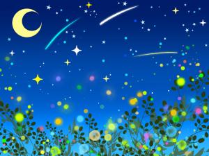 星空 蛍の光 イラスト