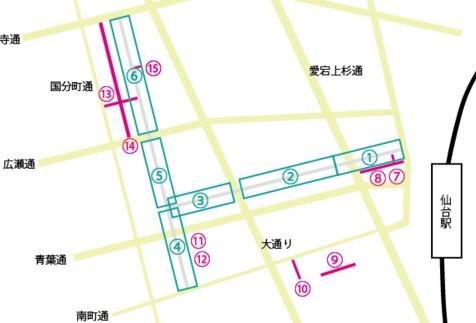 仙台七夕まつり イベント会場 地図