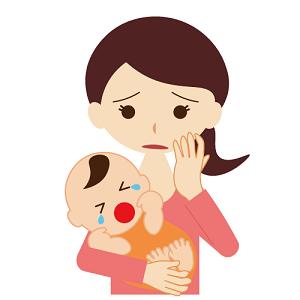 泣いている赤ちゃん ママ