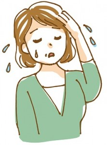 汗をかく年配の女性 イラスト
