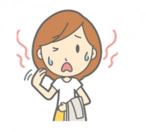汗をかいている女性
