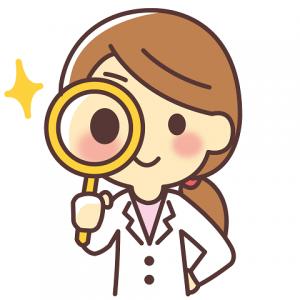 虫眼鏡 白衣 女性