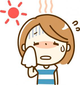 太陽 暑い 汗 女性