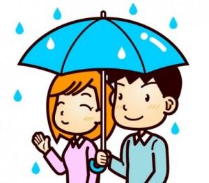 カップル 雨 相合い傘 イラスト