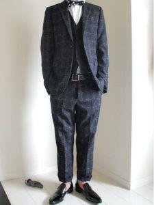男性 服装 スーツ ダークグレー チェック柄