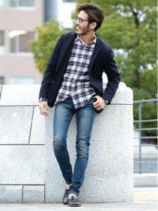男性 服装 チェックシャツ ネイビージャケット