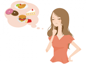食べたいものを我慢する女性 イラスト