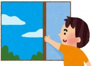 窓を開けて換気する男性 イラスト